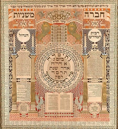 Memorial Tablet and Omer Calendar, Ink, paint, pencil, and watercolor on cut-out paper, by Baruch Zvi Ring, 1904