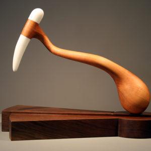 "George Tkabladze ""360 Degrees"" Wood and Stone Sculpture"
